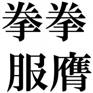 拳拳服膺(けんけんふくよう)』...