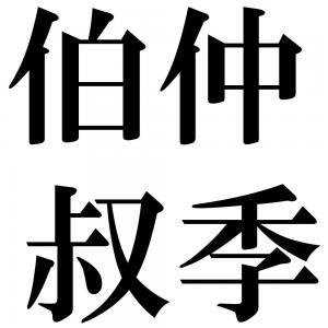 伯仲叔季の四字熟語-壁紙/画像